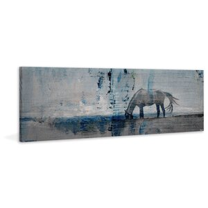 'Horse Grazing Blue' by Parvez Taj Painting Print on Wrapped Canvas by Parvez Taj