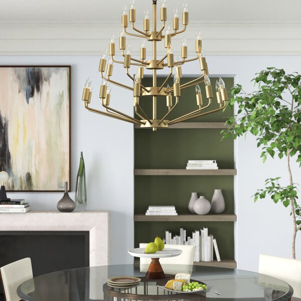 Montoro 32-Light Candle Style Tiered Chandelier by Noir Noir