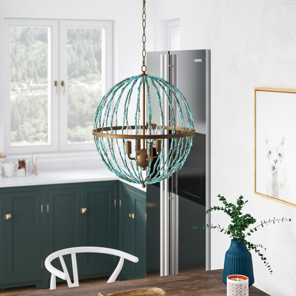 Rahman 4-Light Candle Style Globe Chandelier By Bungalow Rose