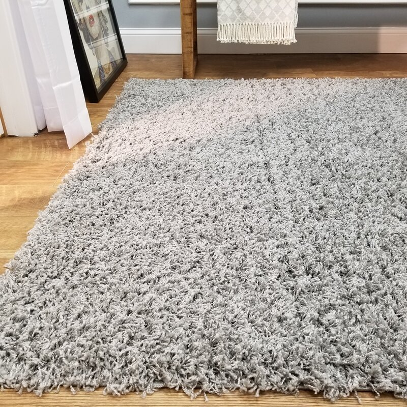 Burns Single Solid Grey Shag Area Rug