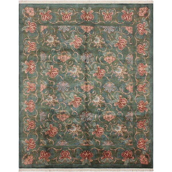 One-of-a-Kind Abigayle Hand-Knotted Wool Green/Red Area Rug by Isabelline