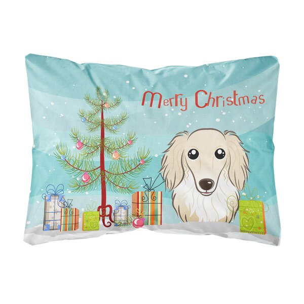 Heron Christmas Tree and Longhair Dachshund Fabric Indoor/Outdoor Throw Pillow by The Holiday Aisle