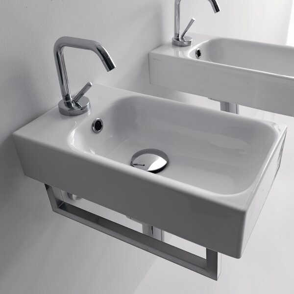 Cento Ceramic 10 Wall Mount Bathroom Sink with Overflow by WS Bath Collections