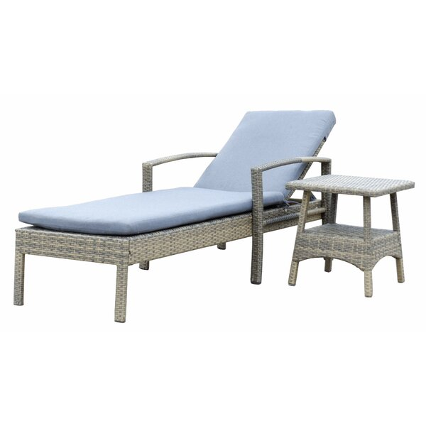 Denika Reclining Chaise Lounge with Cushion and Table by Latitude Run