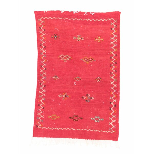 Aknif Moroccan Hand Knotted Wool Pink Area Rug by Indigo&Lavender