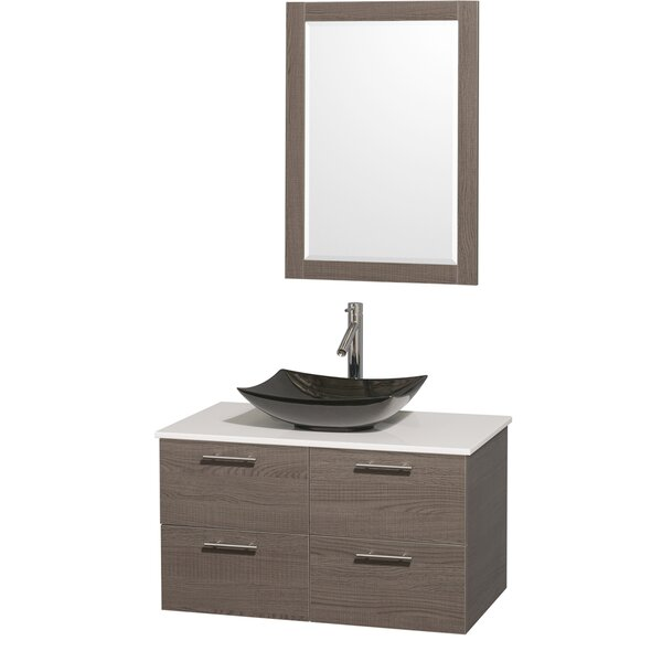 Amare 36 Single Gray Oak Bathroom Vanity Set with Mirror by Wyndham Collection