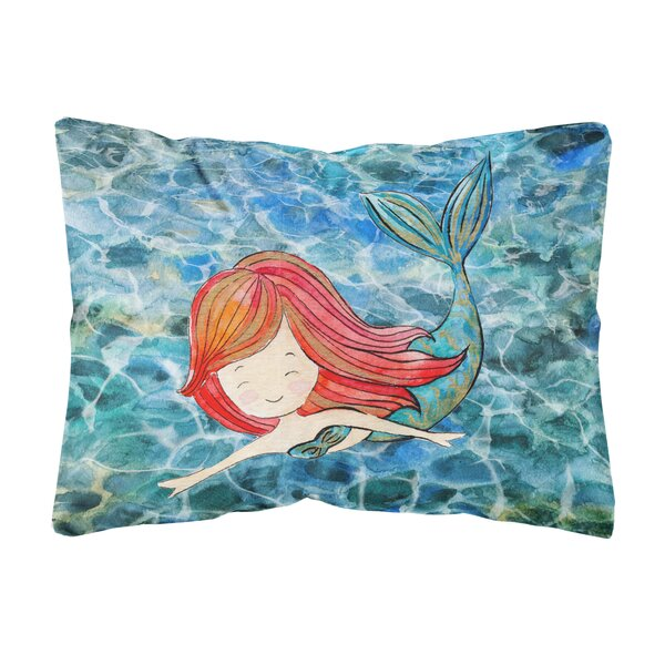 Malaki Mermaid Swimming Indoor/Outdoor Throw Pillow by Highland Dunes