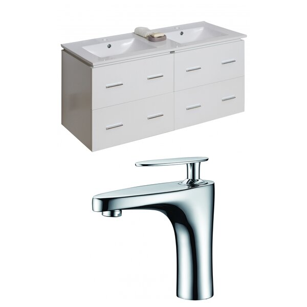 Kyra 48 Rectangle Glaze Double Bathroom Vanity Set by Orren Ellis