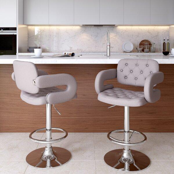 Quimir Adjustable Height Swivel Bar Stool by Brayden Studio