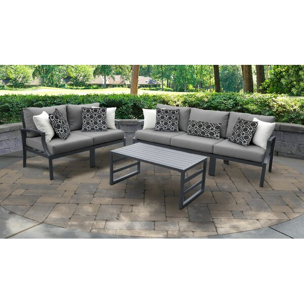 Benner Outdoor Aluminum 6 Piece Sectional Seating Group with Cushion