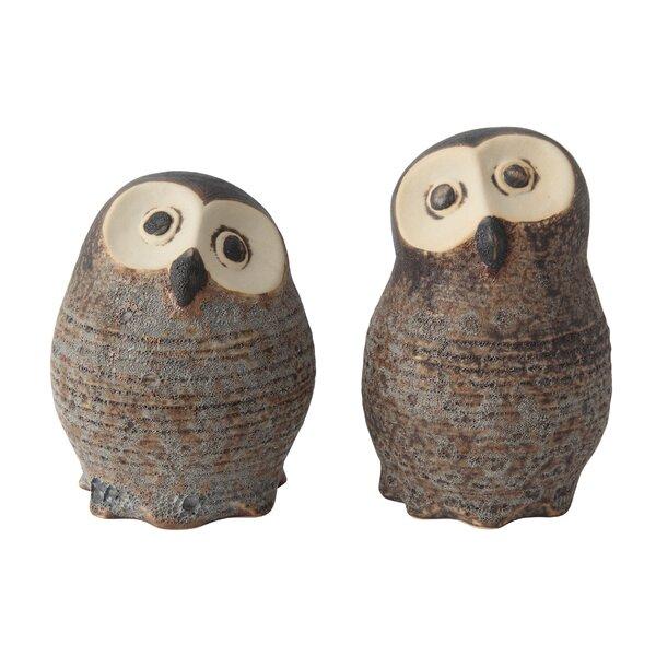 2 Piece Jarvis Stoneware Owl Figurine Set by Loon Peak