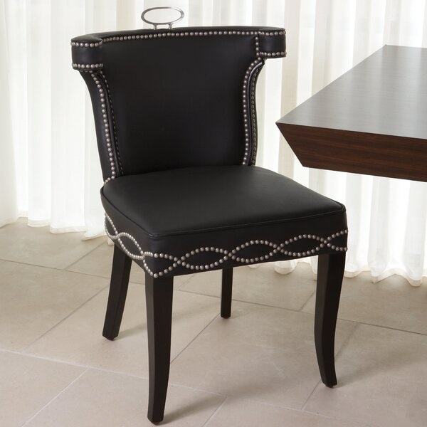 Be Seated in Chic Comfort Casino Genuine Leather Upholstered Dining Chair by Global Views