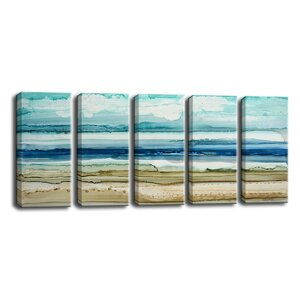 'Dreamers Shore' by Norman Wyatt Jr. 5 Piece Painting Print on Wrapped Canvas Set by Ready2hangart