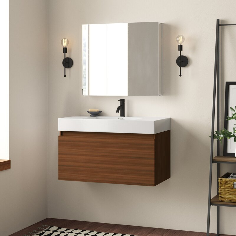 Wall Mounted Modern Bathroom Vanity Set