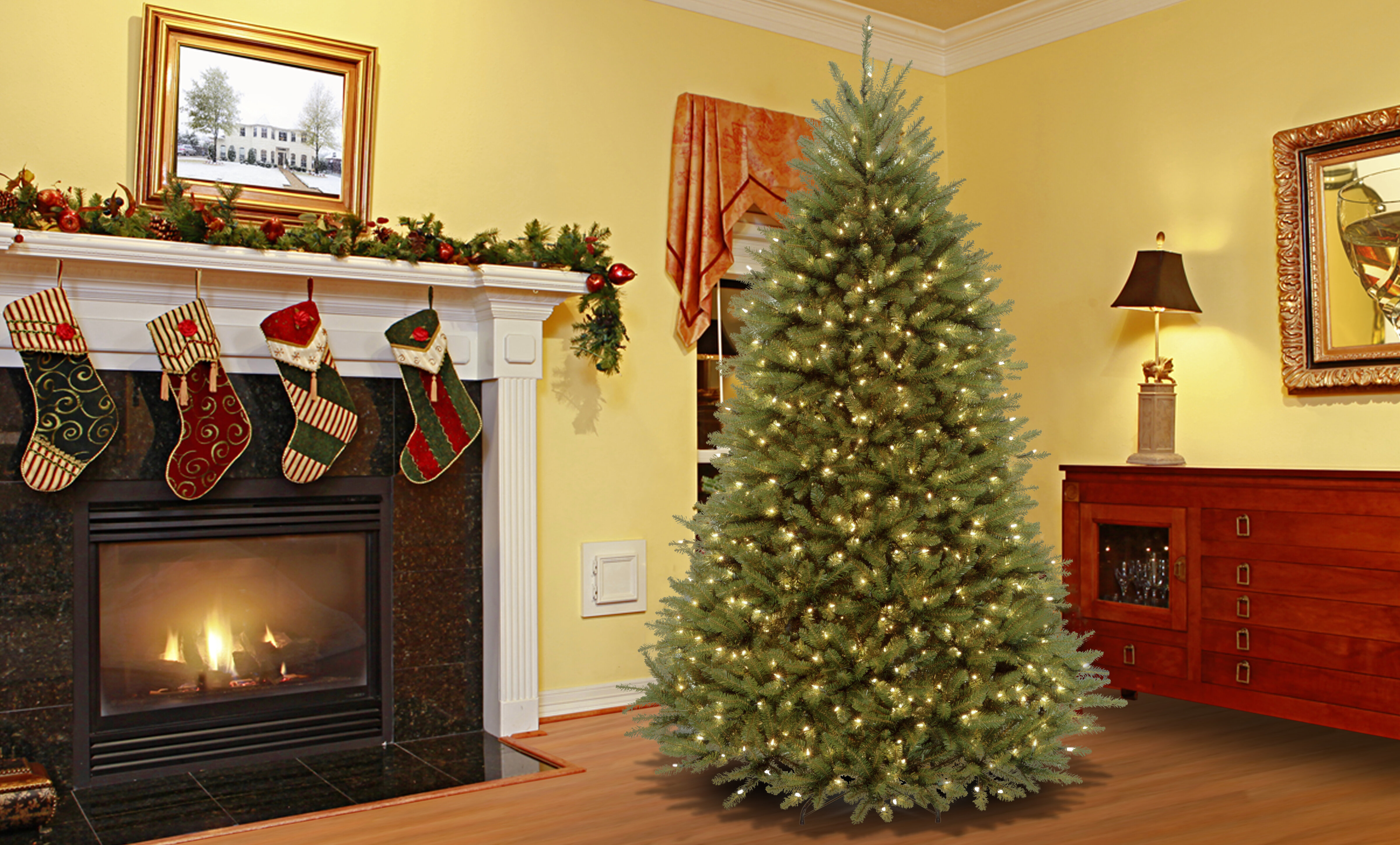 darby home co fir 7 5 green artificial christmas tree with 750 led