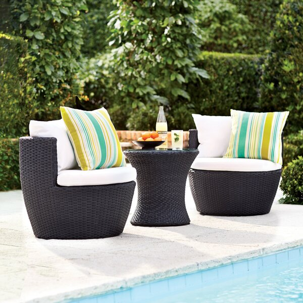 Collingswood 3 Piece 2 Person Seating Group with Cushions by Mercury Row
