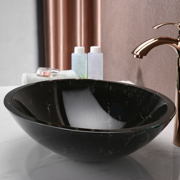 Marbela Glass Circular Vessel Bathroom Sink by ANZZI