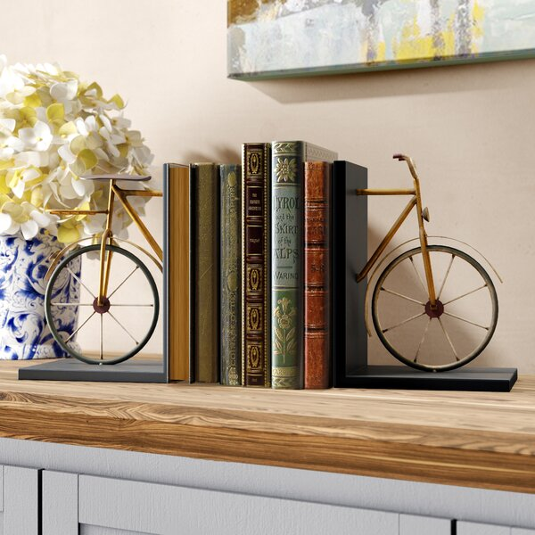 Bicycle Book Ends (Set of 2) by Charlton Home