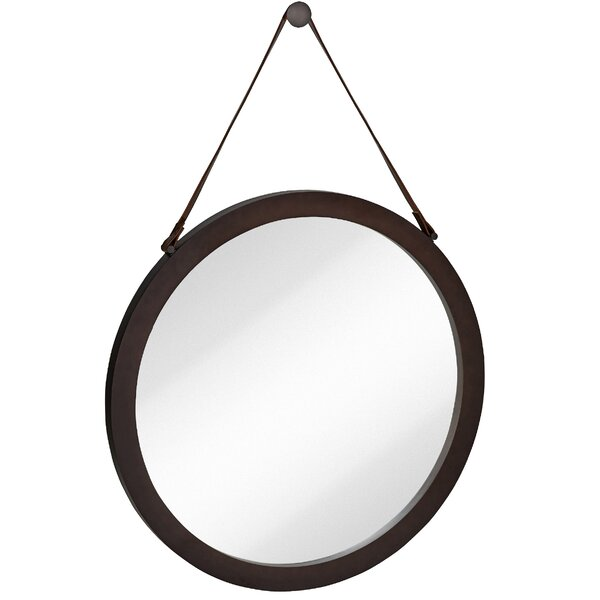 Round Urban Modern Leather Strap Decorative Hanging Wall Mirror by Majestic Mirror