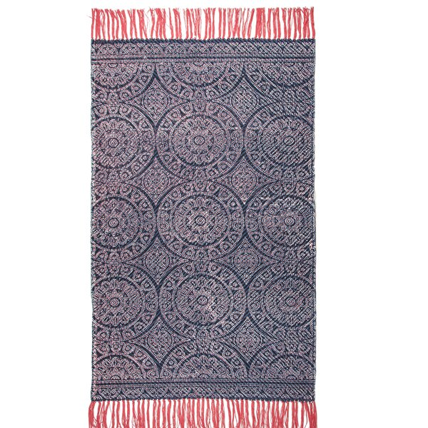 One-of-a-Kind Pickney Hand-Woven Cotton Navy Area Rug by Bungalow Rose