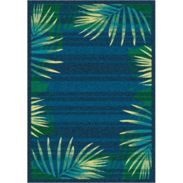 Modern Times Palm Blue Grey Area Rug by Milliken