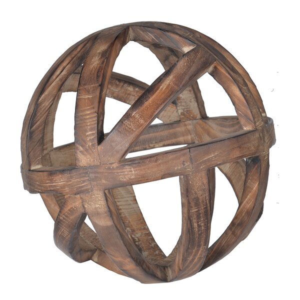 Brown Decorative Wood Ball Sculpture by Loon Peak