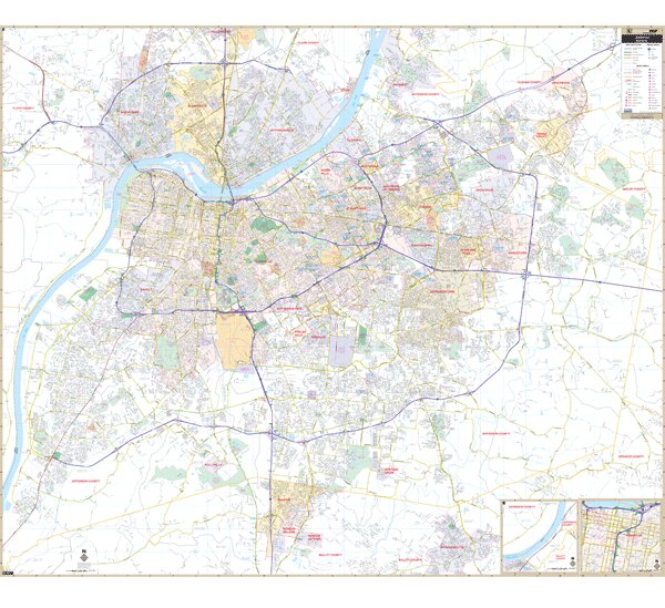 Louisville KY Wall Map by Universal Map