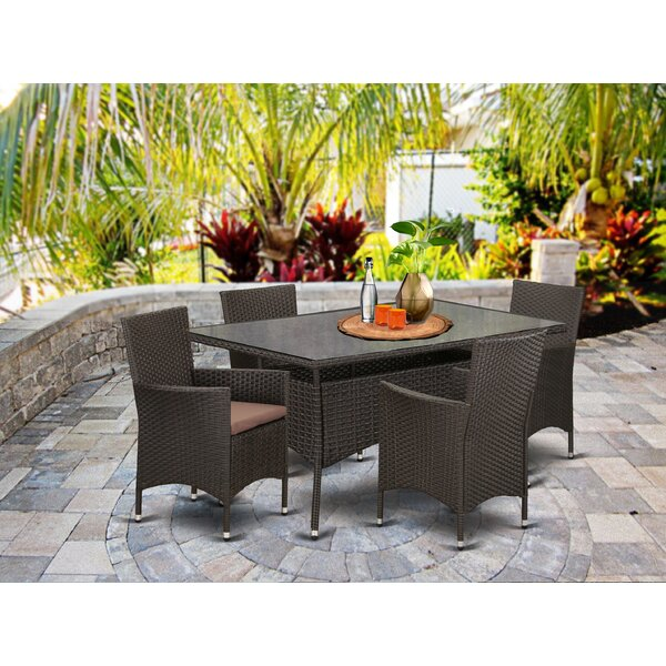 Smithson Back Yard 5 Piece Dining Set with Cushions by Brayden Studio