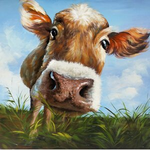 'Cow in Field' Painting Print on Wrapped Canvas by Hobbitholeco.