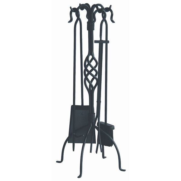 4 Piece Wrought Iron Fire Tool Set with Center Weave With Stand by Uniflame Corporation