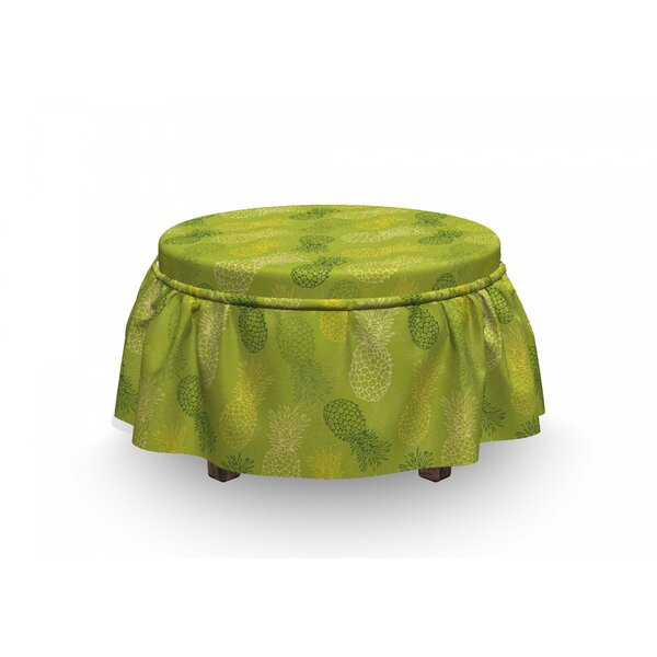 Leaf Tropical Pineapple 2 Piece Box Cushion Ottoman Slipcover Set By East Urban Home