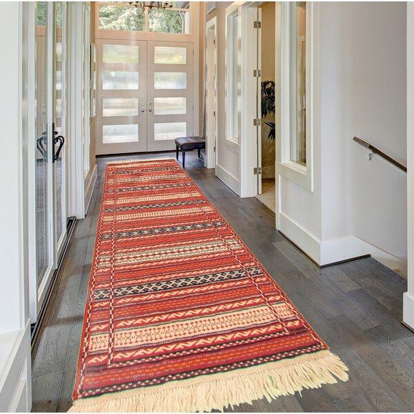 Ziebarth Handmade Kilim Wool Red/Navy/Beige Rug