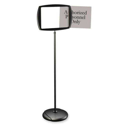 Interchangeable Floor Pedestal Sign, Interchangeable, 11x15x39, Black by Bi-silque Visual Communication Product, Inc.