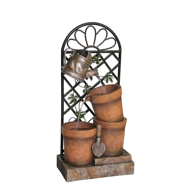 Polystone/Metal Flower Pot and Garden Tool Fountain by Alpine