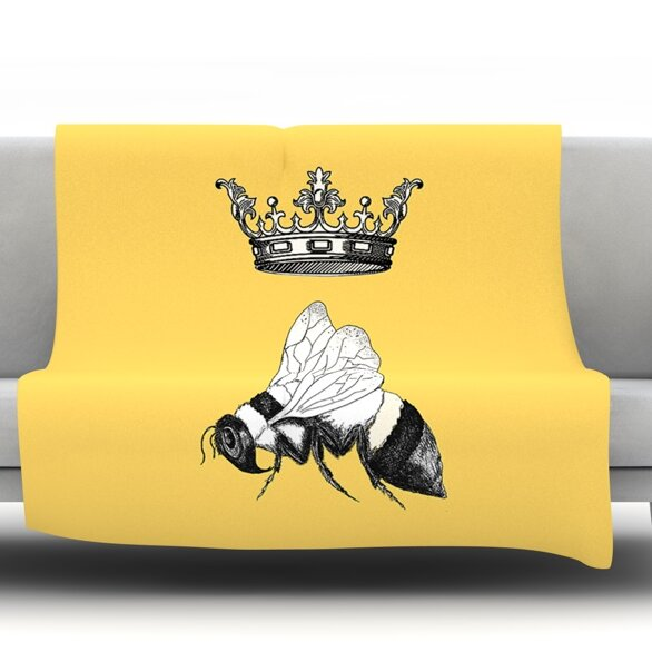 Queen Bee by Catherine Holcombe Fleece Throw Blanket by East Urban Home