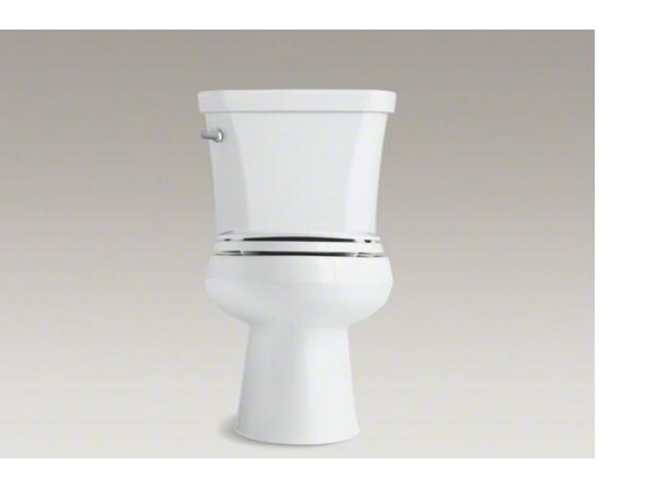 Wellworth Two-Piece Elongated 1.28 GPF Toilet with Class Five Flush Technology, Left-Hand Trip Lever and Insuliner Tank Liner by Kohler