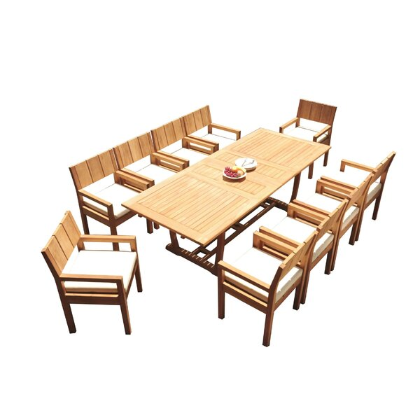 Lapidge 11 Piece Teak Dining Set by Rosecliff Heights