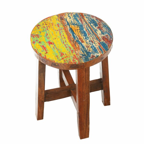 Audrey Reclaimed Wood Accent Stool by Bloomsbury Market