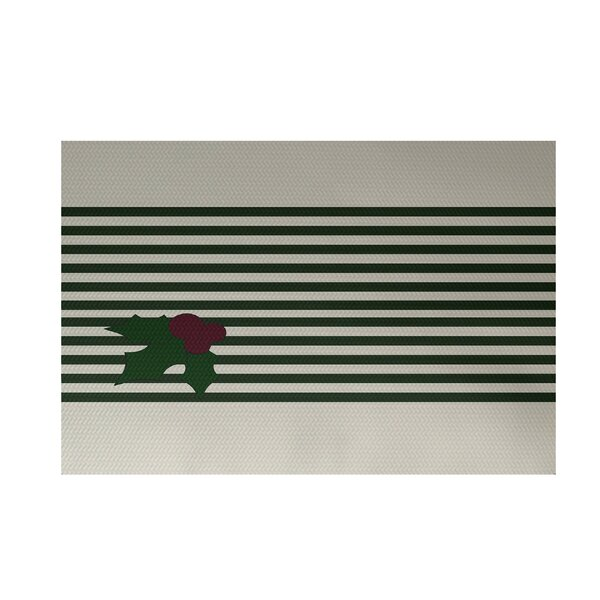 Holly Stripe Decorative Holiday Stripe Print Green Indoor/Outdoor Area Rug by The Holiday Aisle
