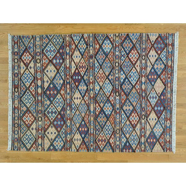 One-of-a-Kind Clark Soumak with Caucasian Design Handwoven Wool Area Rug by Isabelline