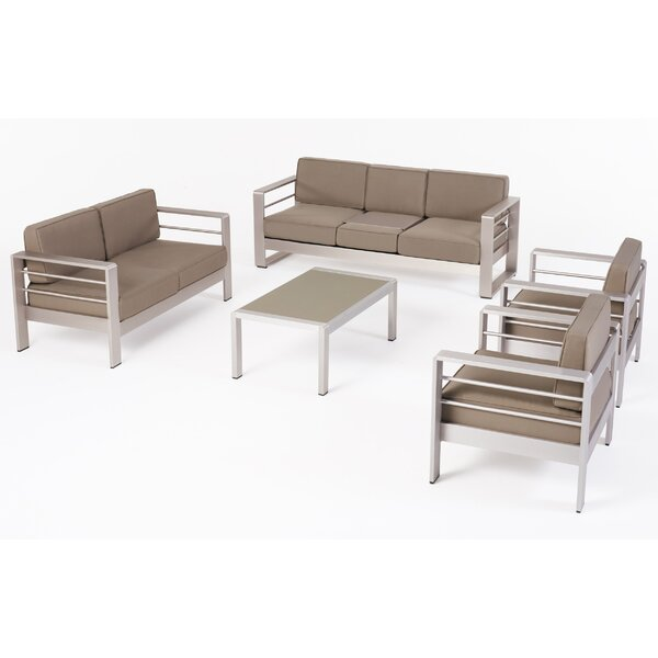 Cape 7 Seater Aluminum Patio 5 Piece Multiple Chair Seating Group with Cushions by Orren Ellis