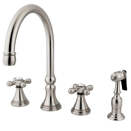 Governor Double Handle Kitchen Faucet with Side Spray by Kingston Brass
