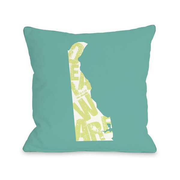 Delaware State Type Throw Pillow by One Bella Casa