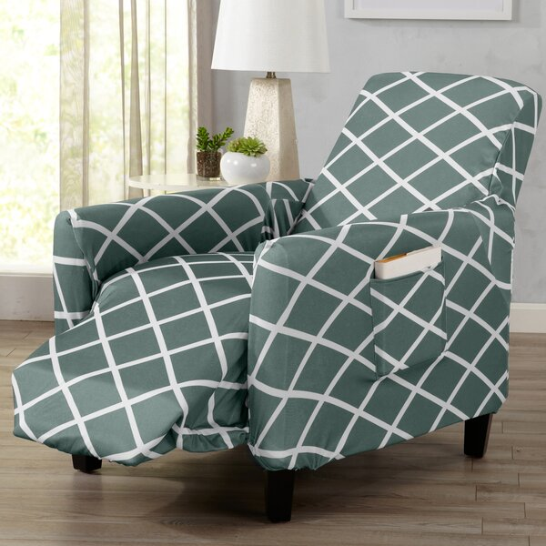 Form Fitting Stretch Diamond Printed T-cushion Recliner Slipcover by Winston Porter