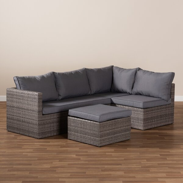 Alvidas 4 Piece Rattan Sectional Seating Group with Cushions by Latitude Run