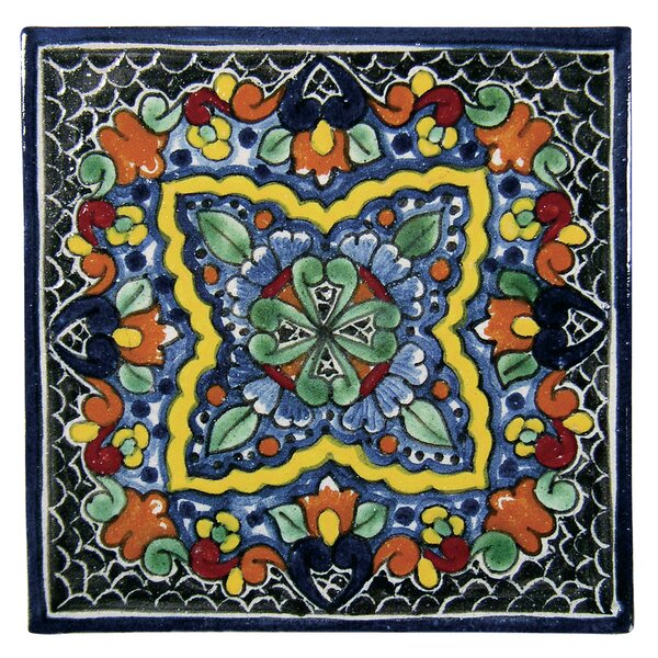 Quatrefoil 6 x 6 Hand Painted Talavera Tile by Nat