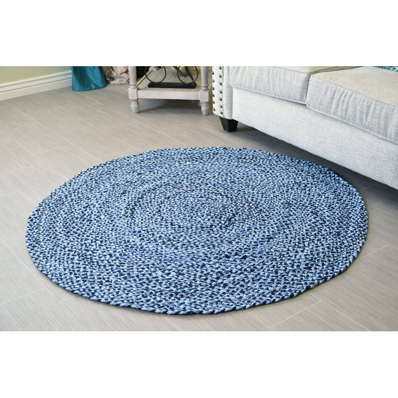 Handmade Braided Cotton Blue Area Rug