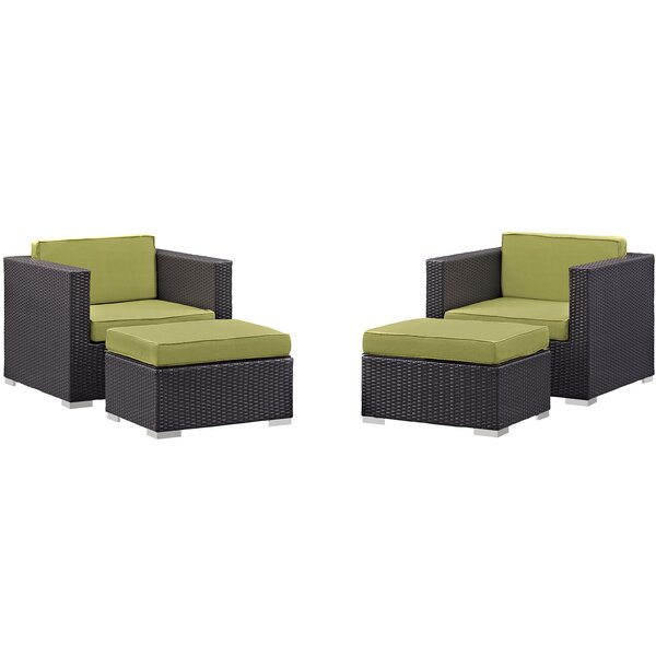 Ryele 4 Piece Deep Seating Chair and Ottoman with Cushion by Latitude Run