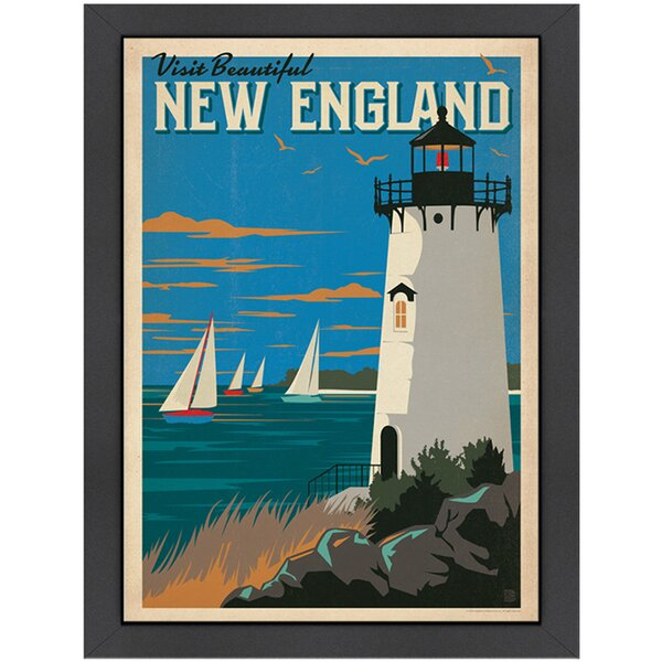 New England Lighthouse Framed Graphic Art by Americanflat