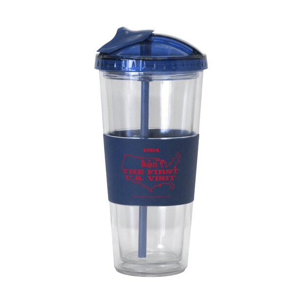 Beatles US Visit No-Spill Straw 22 oz. Plastic Travel Tumbler by Boelter Brands